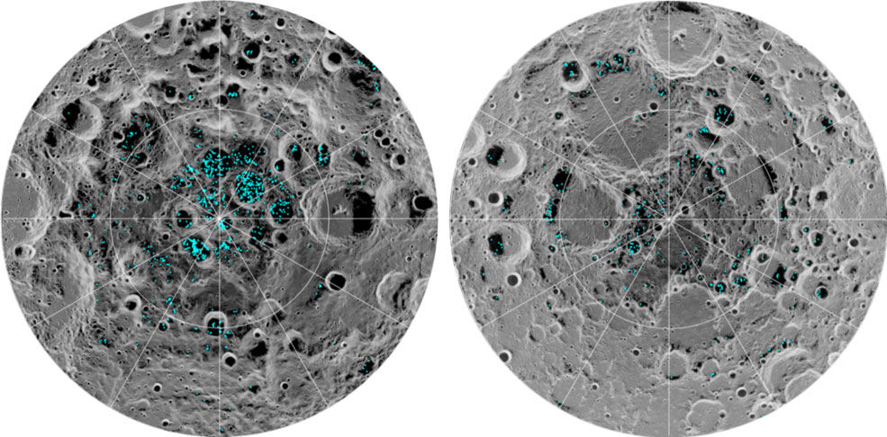 The image shows the distribution of surface ice at the Moon's south pole (left) and north pole (right), detected by NASA's Moon Mineralogy Mapper instrument. Blue represents the ice locations, plotted over an image of the lunar surface, where the gray scale corresponds to surface temperature (darker representing colder areas and lighter shades indicating warmer zones). The ice is concentrated at the darkest and coldest locations, in the shadows of craters. This is the first time scientists have directly observed definitive evidence of water ice on the Moon's surface. Credits: NASA