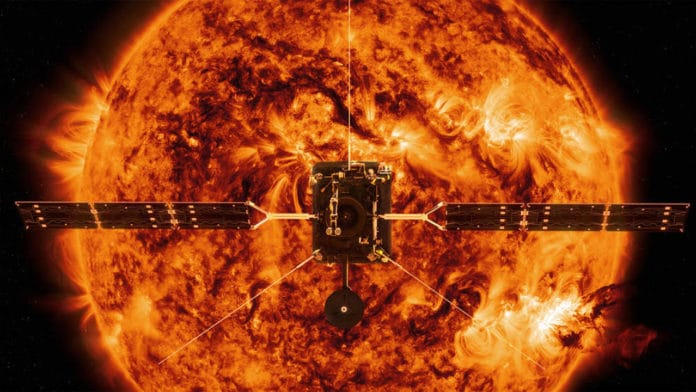 Scheduled to launch in February 2020, ESA's (European Space Agency's) Solar Orbiter spacecraft is shown in an illustration against the backdrop of an image of the Sun captured by NASA's Solar Dynamics Observatory. Solar Orbiter will capture the very first images of the Sun's polar regions. These images will provide key insights into the poorly-understood magnetic environment there, which helps drive the Sun's 11-year cycle and its periodic outpouring of solar storms. Credits: ESA/ATG MediaLab/NASA