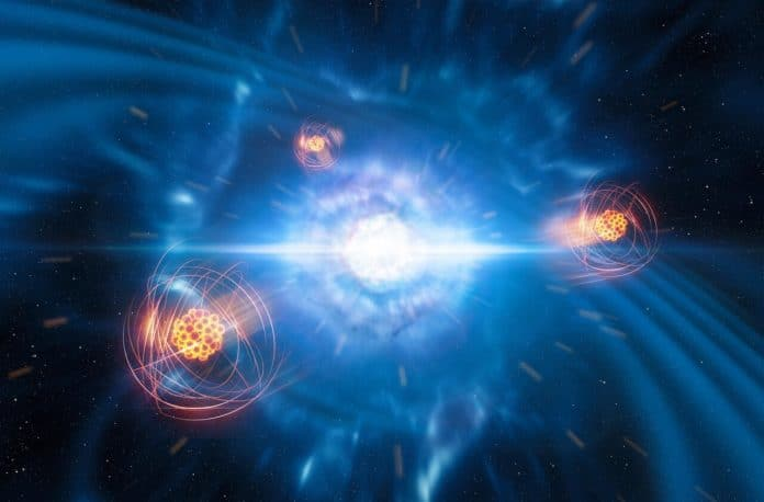 A team of European researchers, using data from the X-shooter instrument on ESO's Very Large Telescope, has found signatures of strontium formed in a neutron-star merger. This artist's impression shows two tiny but very dense neutron stars at the point at which they merge and explode as a kilonova. In the foreground, we see a representation of freshly created strontium.