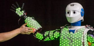 Thanks to the synthetic skin developed by Prof. Gordon Cheng and his team, robot H-1 is able to feel the touch of a human. New control algorithms made it possible for the first time to apply artificial skin to a human-sized robot. Image: Astrid Eckert / TUM