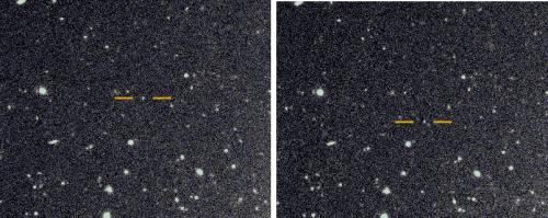 The discovery images for the newly found very distant prograde moon of Saturn. They were taken on the Subaru telescope with about one hour between each image. The background stars and galaxies do not move, while the newly discovered Saturnian moon, highlighted with an orange bar, shows motion between the two images. Photographs are courtesy of Scott Sheppard.