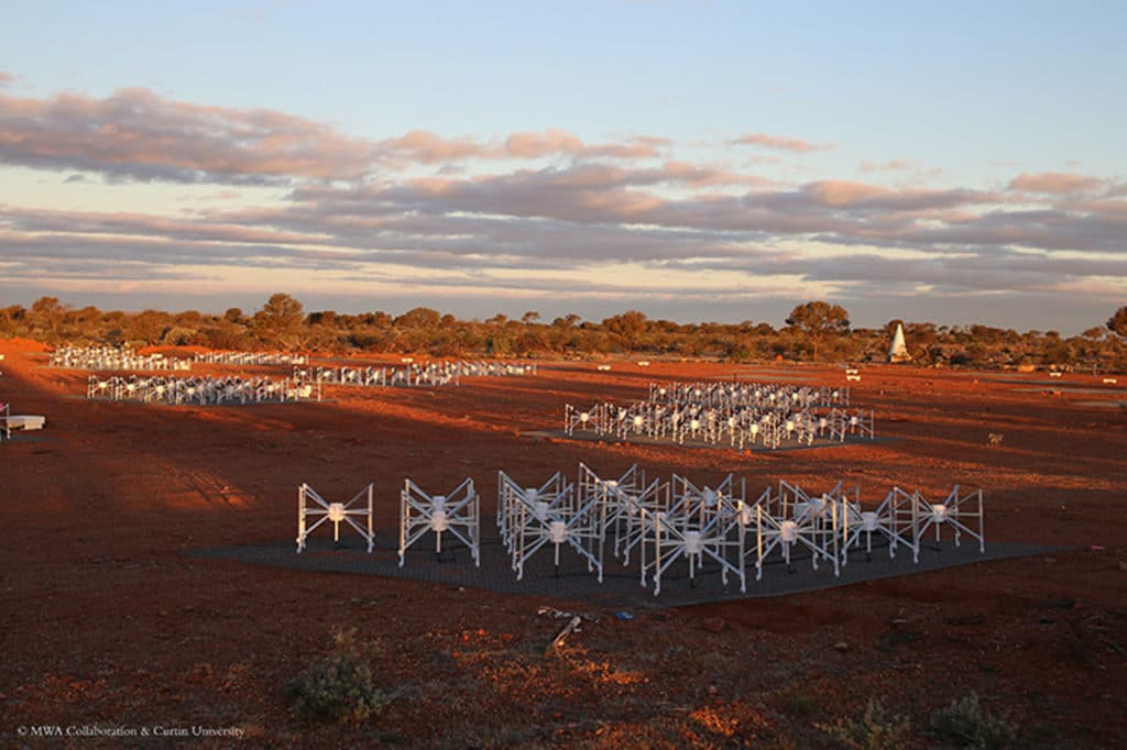 The Murchison Widefield Array radio telescope, a portion of which is pictured here, is searching for a signal emitted during the formation of the first stars in the universe. Goldsmith/MWA Collaboration/Curtin University