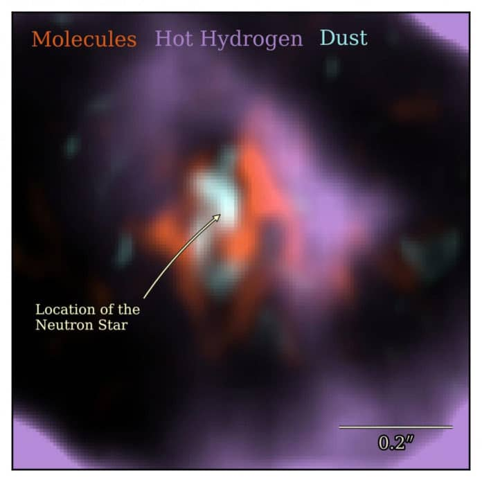 A close-up view of different components in the SN 1987A system: carbon monoxide molecular gas is shown in orange, hot hydrogen gas is shown in purple, and the dust which surrounds the neutron star is shown in cyan. Credit: Cardiff University