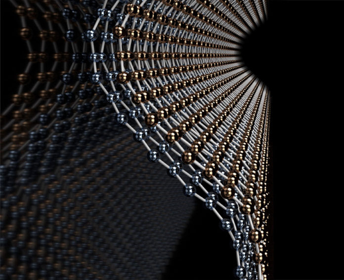 Illustration of a bend in bilayer graphene. Graphic courtesy Blanka Janicek, Pinshane Huang Lab