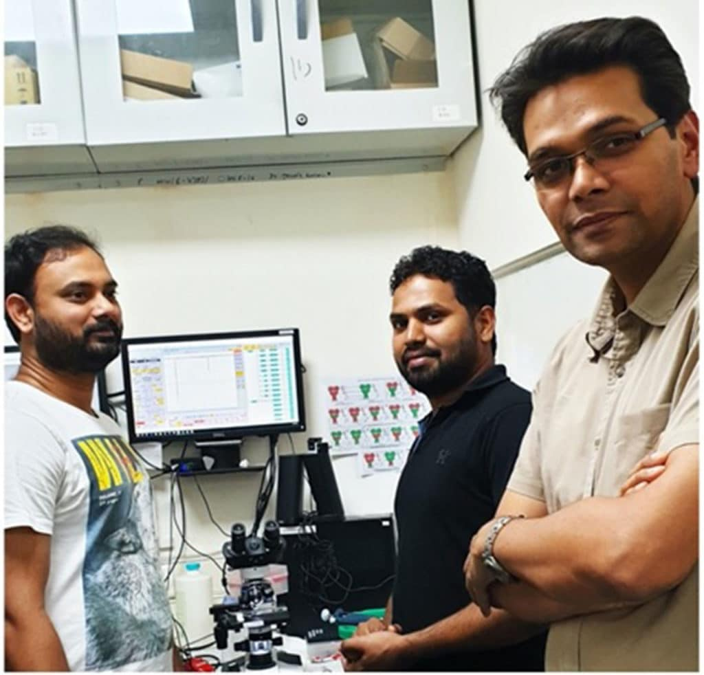 Dr Janesh Kumar and his team at their lab