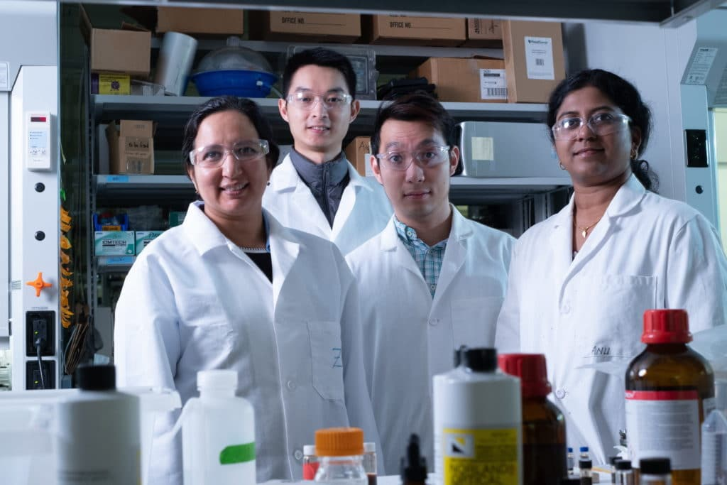 Rice University researchers — from left, Sibani Lisa Biswal, Botao Farren Song, Quan Anh Nguyen and Anulekha Haridas — built full lithium-ion batteries with silicon anodes and an alumina layer to protect cathodes from degrading. By limiting their energy density, the batteries promise excellent stability for transportation and grid storage use. Photo by Jeff Fitlow