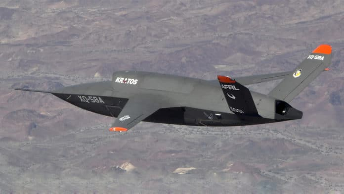 The unmanned XQ-58A Valkyrie drone demonstrator flight