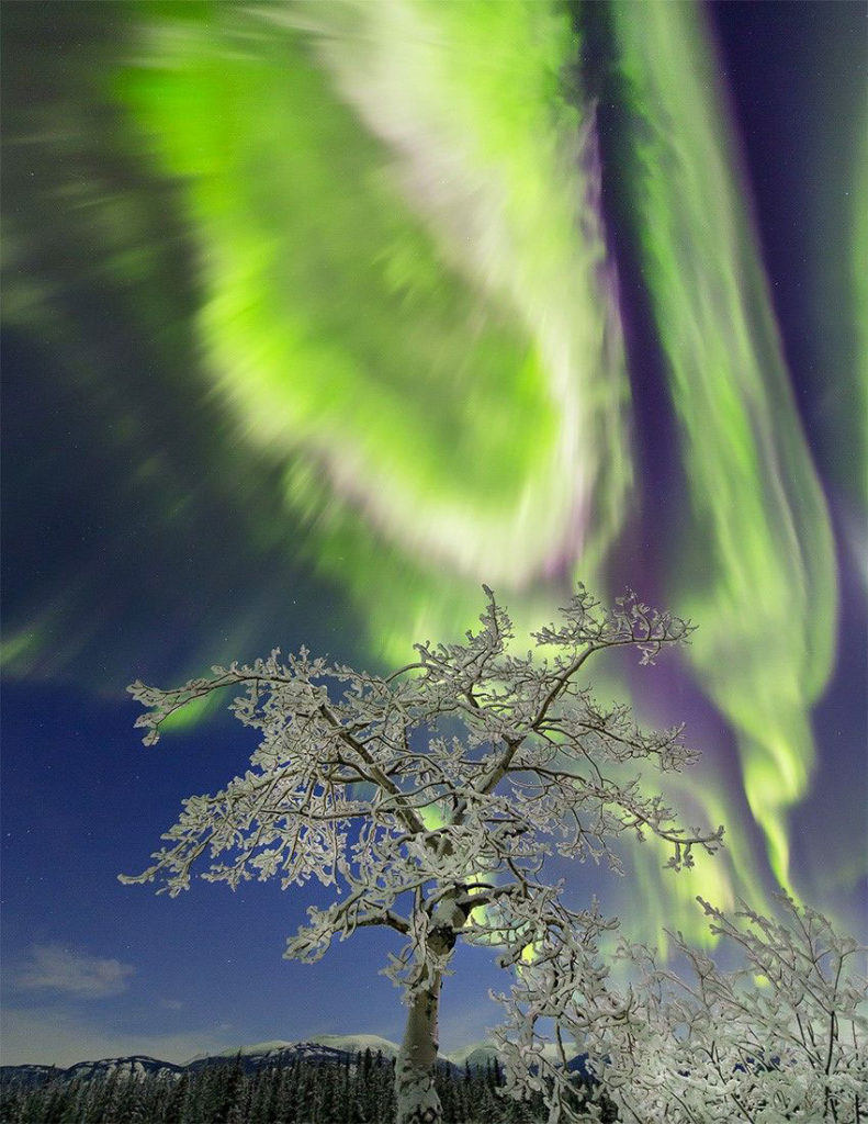 Brilliant aurora borealis captured over Yukon, Canada, during a geomagnetic storm. Its elusive driver, magnetic reconnection, was captured by a fleet of spacecraft near local midnight, with a large energy release surprisingly close to geosynchronous orbit.