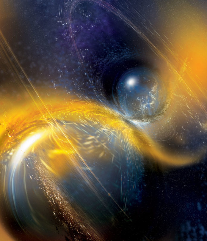Artist's rendition of a binary neutron star merger. [Image credit: National Science Foundation/LIGO/Sonoma State University/A. Simonnet.]