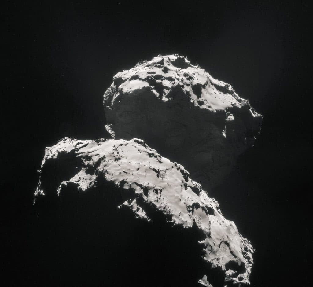 Mosaic of comet 67P/Churyumov–Gerasimenko, created using images taken on 10 September 2014 when ESA's Rosetta spacecraft was 27.8 km from the comet. Credit: ESA/Rosetta/NAVCAM