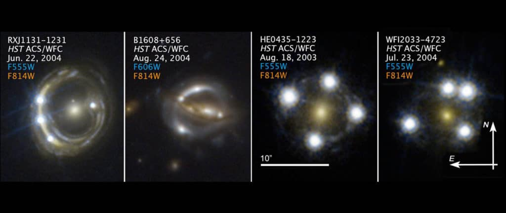 Hubble Space Telescope images of faraway quasars lensed by foreground galaxies that were used to measure the Hubble constant. (Image: S.H. Suyu / TUM/MPA; K.C. Wong / Univ. Tokyo; NASA; ESA) Image: S. H. Suyu / TUM / MPA, K. C. Wong / Univ. Tokio; NASA; ESA
