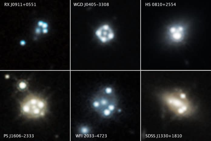Each of these Hubble Space Telescope snapshots reveals four distorted images of a background quasar and its host galaxy surrounding the central core of a foreground massive galaxy. The gravity of the massive foreground galaxy is acting like a magnifying glass by warping the quasar's light in an effect called gravitational lensing. Quasars are extremely distant cosmic streetlights produced by active black holes. Such quadruple images of quasars are rare because of the nearly exact alignment needed between the foreground galaxy and background quasar. Astronomers used the gravitational lensing effect to detect the smallest clumps of dark matter ever found. The clumps are located along the telescope's line of sight to the quasars, as well as in and around the foreground lensing galaxies. The presence of the dark matter concentrations alters the apparent brightness and position of each distorted quasar image. Astronomers compared these measurements with predictions of how the quasar images would look without the influence of the dark matter clumps. The researchers used these measurements to calculate the masses of the tiny dark matter concentrations. Hubble's Wide Field Camera 3 captured the near-infrared light from each quasar and dispersed it into its component colors for study with spectroscopy. The images were taken between 2015 and 2018. Credits: NASA, ESA, A. Nierenberg (JPL) and T. Treu (UCLA)