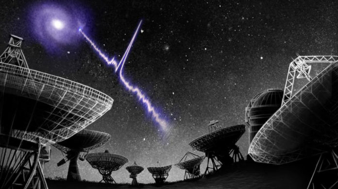 Artist's conception of the localisation of Fast Radio Burst (FRB) 180916.J0158+65 (a.k.a.