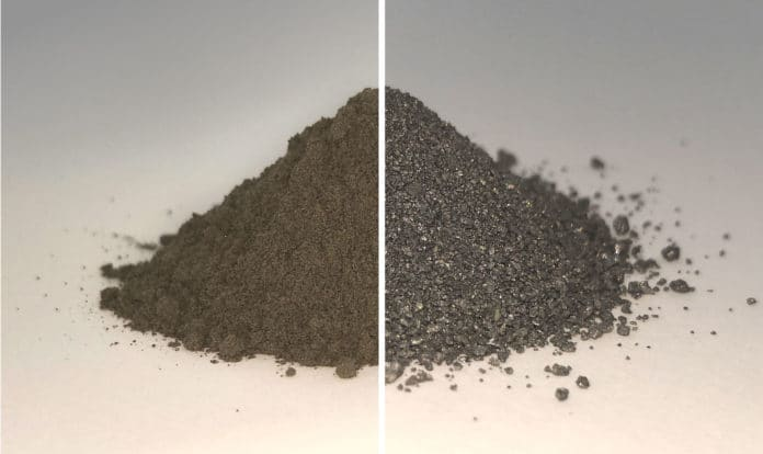 On the left side of this before and after image is a pile of simulated lunar soil, or regolith; on the right is the same pile after essentially all the oxygen has been extracted from it, leaving a mixture of metal alloys. Both the oxygen and metal could be used in future by settlers on the Moon.