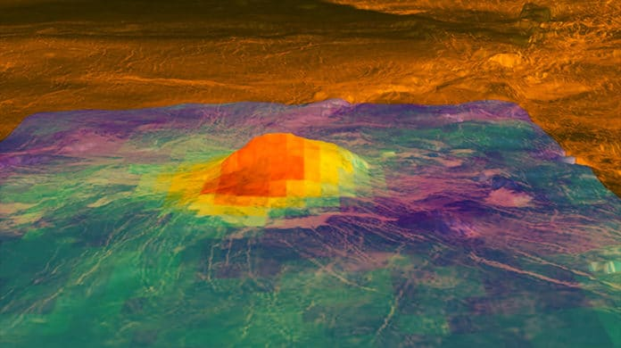 This figure shows the volcanic peak Idunn Mons (at 46 degrees south latitude, 214.5 degrees east longitude) in the Imdr Regio area of Venus. The colored overlay shows the heat patterns derived from surface brightness data collected by the Visible and Infrared Thermal Imaging Spectrometer (VIRTIS), aboard the European Space Agency's Venus Express spacecraft. Image credit: NASA