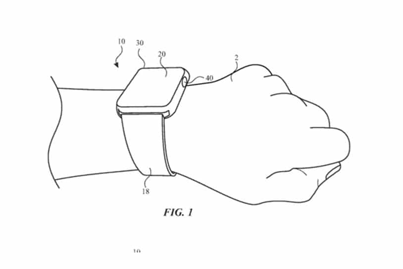 New patent shows Apple Watch with a flat digital crown capable of recognizing gestures. Credit: Apple