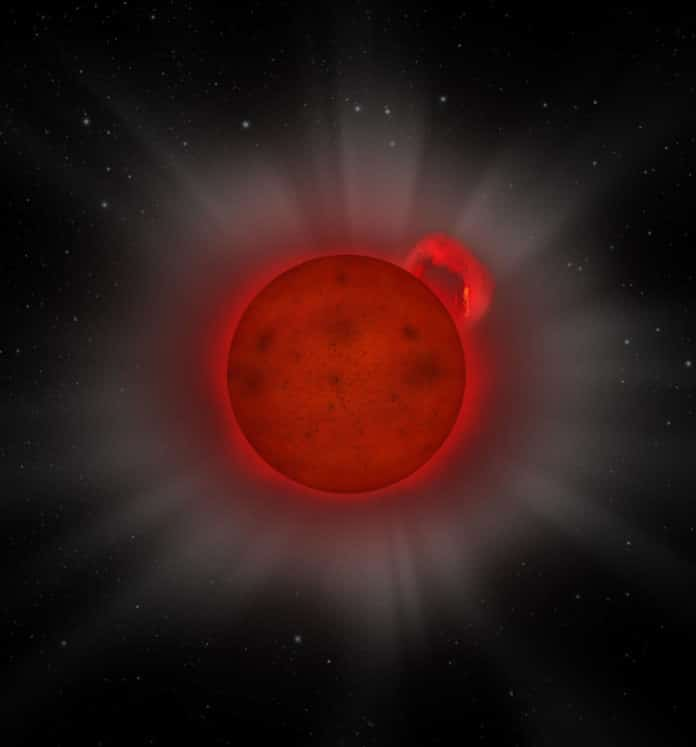 Artist's impression of an L dwarf star, a star with so little mass that it is only just above the boundary of actually being a star, caught in the act of emitting an enormous 'super flare' of X-rays, as detected by ESA's XMM-Newton X-ray space observatory.