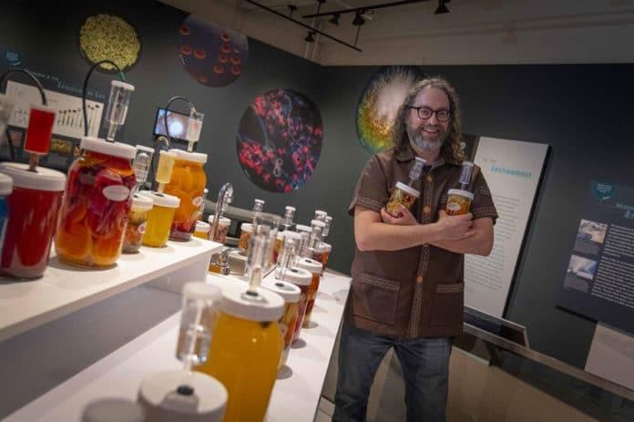 Professor Joshua Rosenstock, standing in his Fermentophone exhibit at the Harvard Museum of Natural History. Credit: Worcester Polytechnic Institute