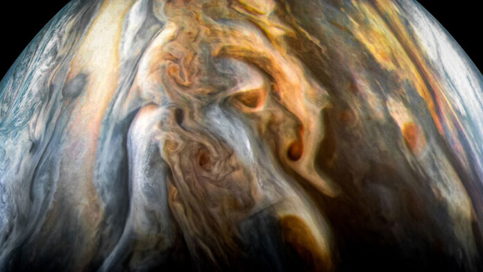 The JunoCam imager aboard NASA's Juno spacecraft captured this image of Jupiter's southern equatorial region on Sept. 1, 2017. The image is oriented so Jupiter's poles (not visible) run left-to-right of frame. Image credit: NASA/JPL-Caltech/SwRI/MSSS/Kevin M. Gill