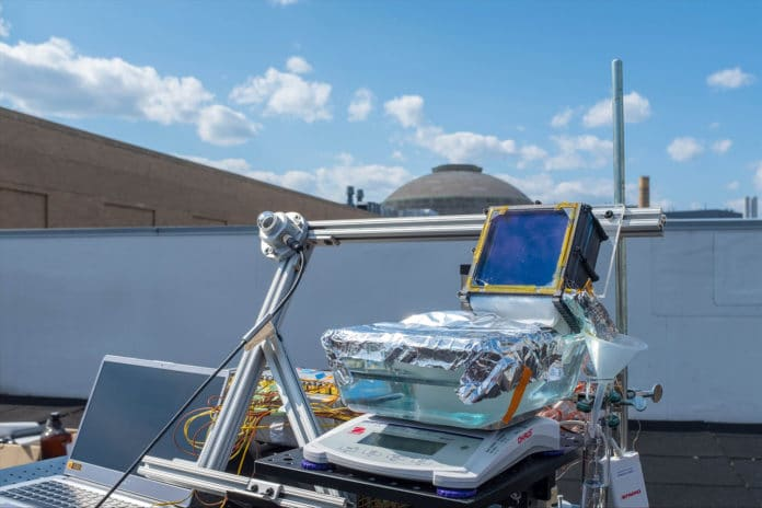 MIT's solar-powered water desalination being tested on an MIT building rooftop. Credit: MIT