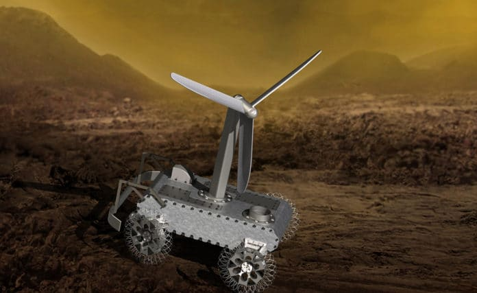 An illustration of a concept for a possible wind-powered Venus rover.