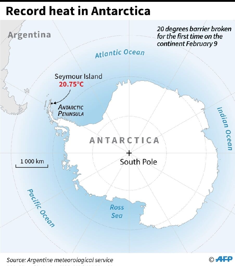 Map of Antarctica locating Seymour Island which recorded its hottest ever temperature on February 9.