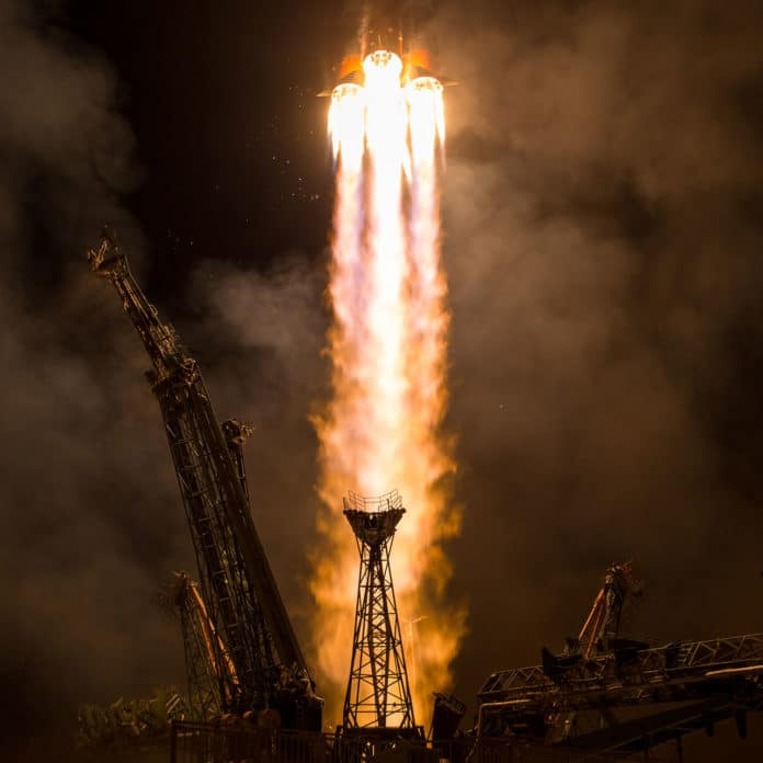 A Soyuz spacecraft launches from the Baikonur Cosmodrome in Kazakhstan in 2017 using a conventional, fuel-intensive engine. UW researchers have developed a mathematical model that describes how a new type of engine — one that promises to make rockets fuel-efficient, more lightweight and less complicated to construct — works.NASA/Bill Ingalls/Flickr