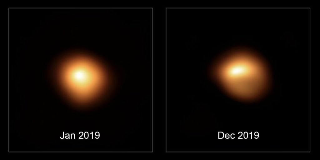 This comparison image shows the star Betelgeuse before and after its unprecedented dimming. The observations, taken with the SPHERE instrument on ESO's Very Large Telescope in January and December 2019, show how much the star has faded and how its apparent shape has changed. Credit: ESO/M. Montargès et al.