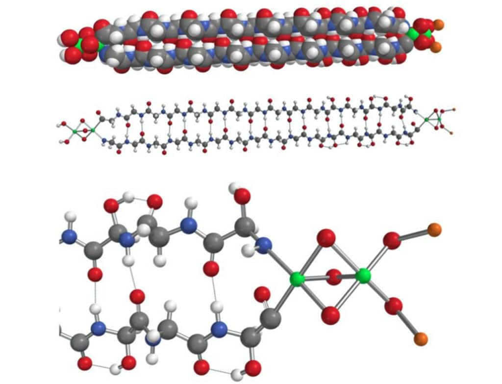 Model of the 2320 hemolithin molecule after MMFF energy minimization. Top: in space-filling mode; Center: ball and stick; Bottom: enlarged view of iron, oxygen and lithium termination. White = H; orange = Li; grey = C; blue = N; red = O and green = Fe. Hydrogen bonds are shown by dotted lines. Credit: arXiv:2002.11688 [astro-ph.EP]