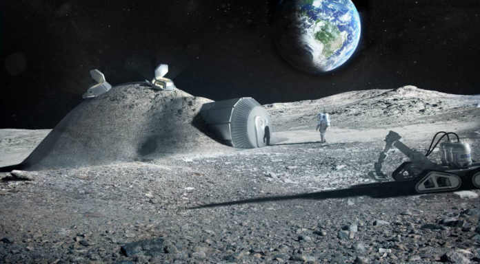 Future moon bases could be built with 3D printers that mix materials such as moon regolith, water and astronauts' urine / ESA, Foster and Partners