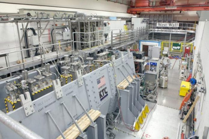The MICE muon beam-line at the Science and Technology Facilities Council (STFC) ISIS Neutron and Muon Beam facility on the Harwell Campus in the UK. CREDIT MICE collaboration