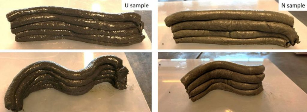 Tests to see the ability to form layers of a mixture of material with 3% urea (sample U) and another with 3% naphthalene, a common plasticizer (sample N) / Shima Pilehvar et al. / Journal of Cleaner Production