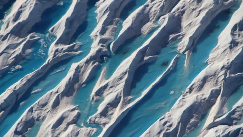 Crevasses in southern Greenland are visible from a 2017 Operation IceBridge airborne survey of the region. Credit: NASA/Operation IceBridge