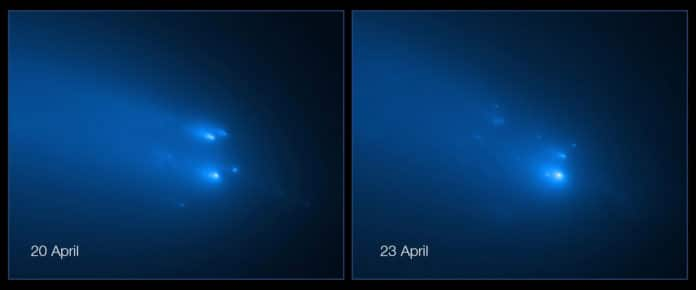 The NASA/ESA Hubble Space Telescope has provided astronomers with the sharpest view yet of the breakup of Comet C/2019 Y4 (ATLAS). The telescope resolved roughly 30 fragments of the comet on 20 April and 25 pieces on 23 April. Credit: NASA, ESA, D. Jewitt (UCLA), Q. Ye (University of Maryland)