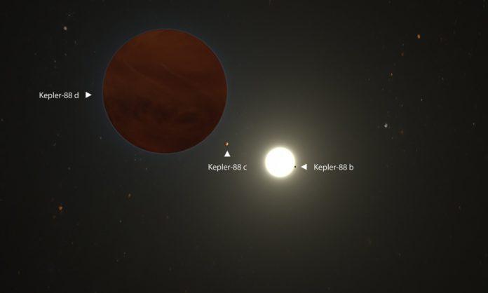 An artist's illustration of the Kepler-88 planetary system. CREDIT: W. M. KECK OBSERVATORY/ADAM MAKARENKO