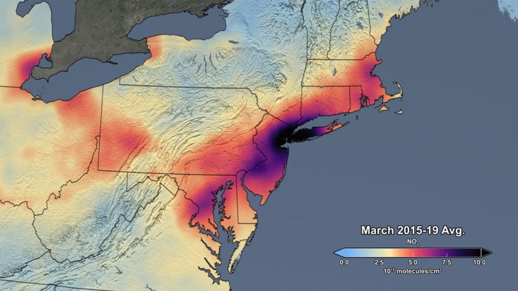 The image shows the average concentration in March of 2015-19. Credit: NASA