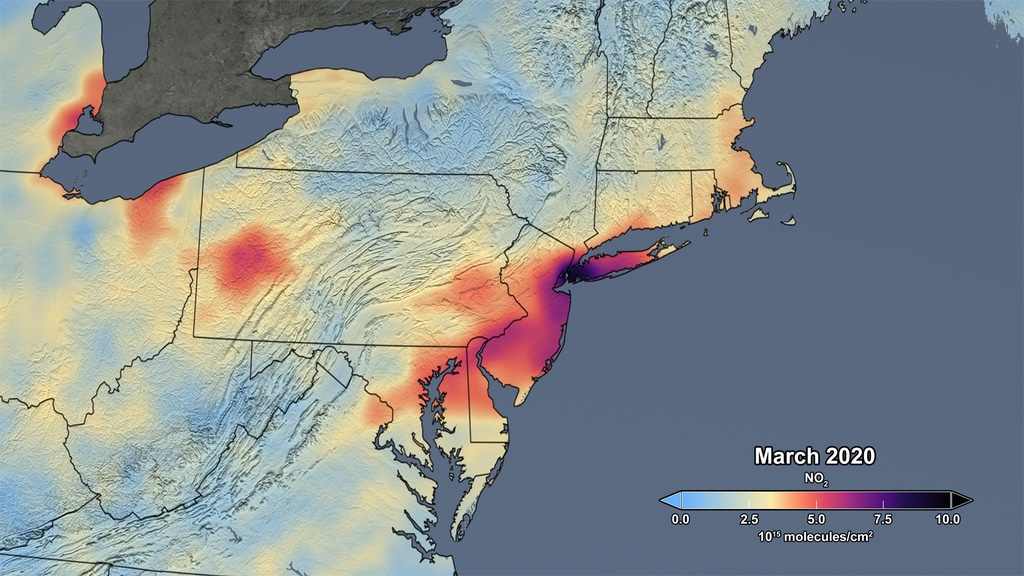 The image shows the average concentration measured in March of this year. Credits: NASA
