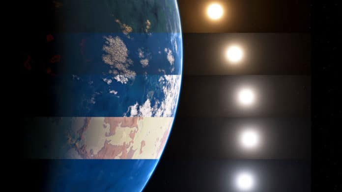 In this artistic rendering, different kinds of suns are shown as they interact with various Earth-like surfaces in distant solar systems. The combinations create an array of climates. Thus, in the search for exoplanets, astronomers can be guided by color for possible habitable planets.