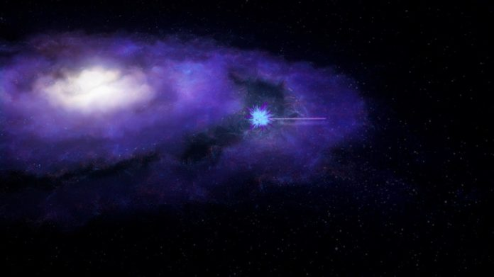 The FRB leaves its host galaxy as a bright burst of radio waves. Credit: ICRAR