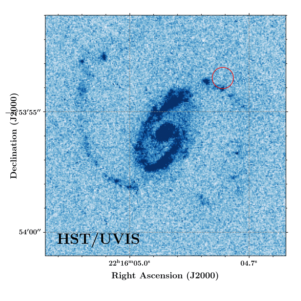 A Hubble Space Telescope image of an FRB host galaxy, with the location of the FRB marked in red. This FRB was one of the network used to find the missing matter. Credit: J. Xavier Prochaska/UC Santa Cruz, Jay Chittidi (Maria Mitchell Observatory), and Alexandra Mannings (UC Santa Cruz)
