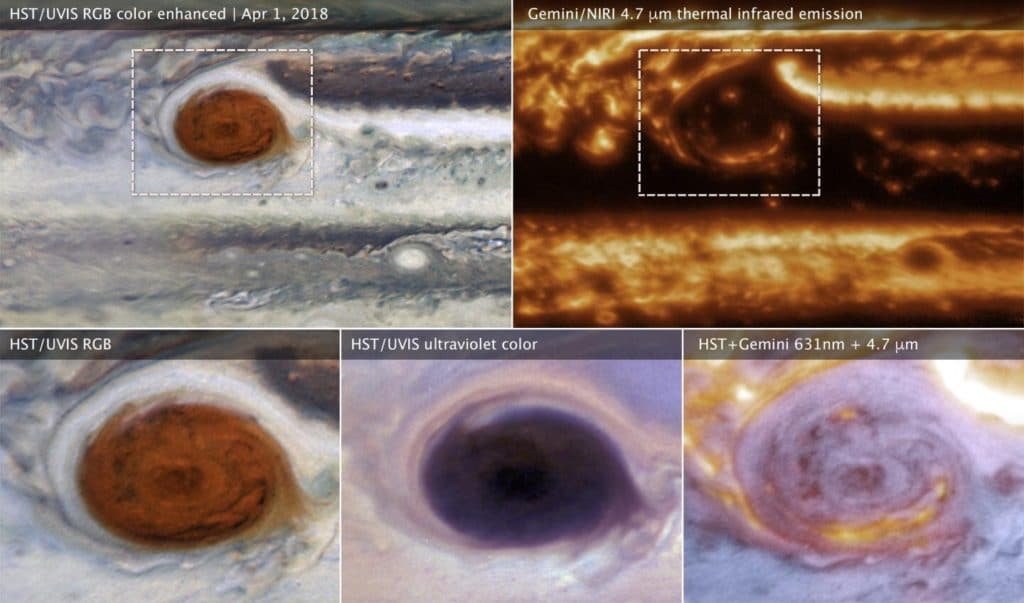 These images of Jupiter's Great Red Spot were made using data collected by the Hubble Space Telescope and the international Gemini Observatory on 1 April 2018. By combining observations captured at almost the same time from the two different observatories, astronomers were able to determine that dark features on the Great Red Spot are holes in the clouds rather than masses of dark material. Upper left (wide view) and lower left (detail): The Hubble image of sunlight (visible wavelengths) reflecting off clouds in Jupiter's atmosphere shows dark features within the Great Red Spot. Upper right: A thermal infrared image of the same area from Gemini shows heat energy emitted as infrared light. Cool overlying clouds appear as dark regions, but clearings in the clouds allow bright infrared emission to escape from warmer layers below. Lower middle: An ultraviolet image from Hubble shows sunlight scattered back from the haze over the Great Red Spot. The Great Red Spot appears red in visible light because the haze absorbs blue wavelengths. The Hubble data show that the haze continues to absorb even at shorter ultraviolet wavelengths. Lower right: A multiwavelength composite of Hubble and Gemini data shows visible light in blue and thermal infrared in red. The combined observations show that areas that are bright in infrared are clearings or places where there is less cloud cover blocking heat from the interior. The Hubble and Gemini observations were made to provide a wide-view context for Juno's 12th pass (Perijove 12). Credit: NASA, ESA, and M.H. Wong (UC Berkeley) and team