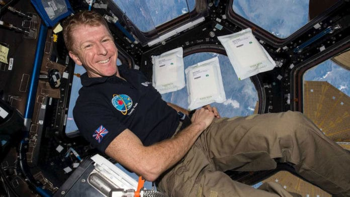 Major Tim Peake with the seeds on the International Space Station. Credit ESA/NASA
