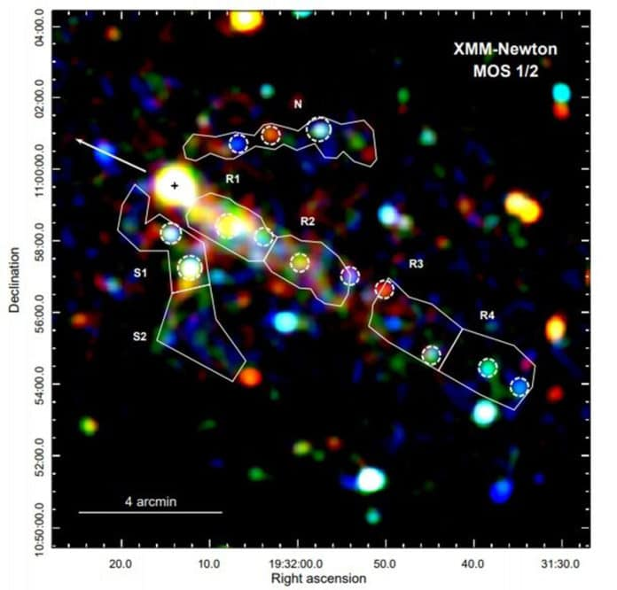 Color-coded MOS1/2 image of the field around PSR B1929+10 with merged vignetting-corrected and background subtracted data. The pulsar position and its proper motion are illustrated by a cross and an arrow, respectively. Credit: Kim et al., 2020.