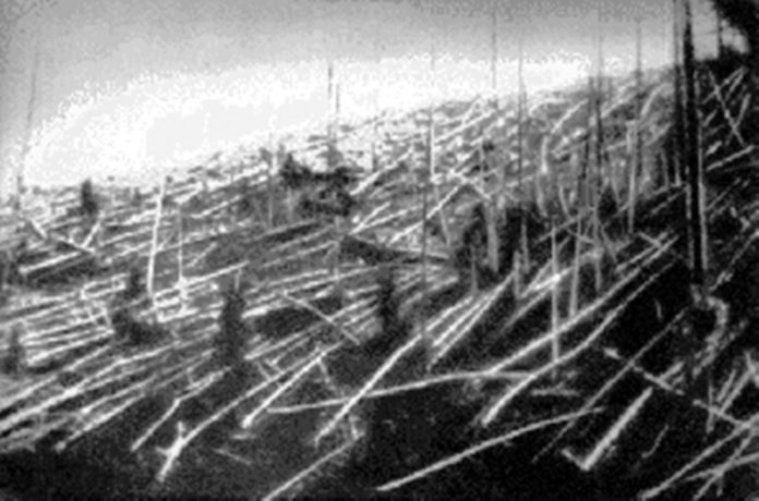 Trees knocked over by the Tunguska blast. Photograph from the Soviet Academy of Science 1927 expedition led by Leonid Kulik.