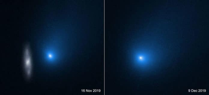 Comet 2I/Borisov is only the second interstellar object known to have passed through the solar system. These two images, taken by NASA's Hubble Space Telescope, capture the comet appearing near a background galaxy (left) and soon after its closest approach to the Sun (right). Credits: NASA, ESA and D. Jewitt (UCLA)