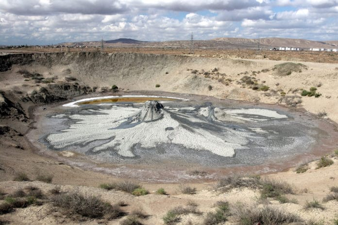 The collapsed circular crater of a mud volcano in Azerbaijan Credit: Petr Brož (Czech Academy of Sciences)
