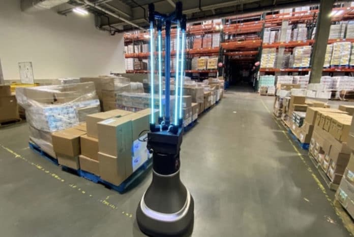 In tests, the CSAIL team's robot could disinfect a 4,000-square-foot space in the food bank's warehouse in just half an hour.