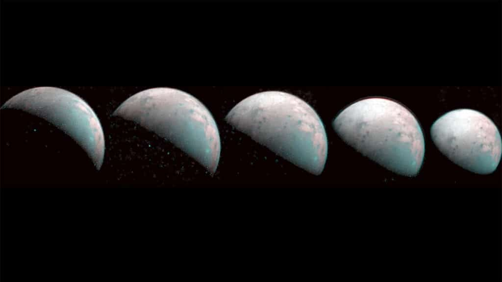 These images the JIRAM instrument aboard NASA's Juno spacecraft took on Dec. 26, 2019, provide the first infrared mapping of Ganymede's northern frontier. Frozen water molecules detected at both poles have no appreciable order to their arrangement and a different infrared signature than ice at the equator.