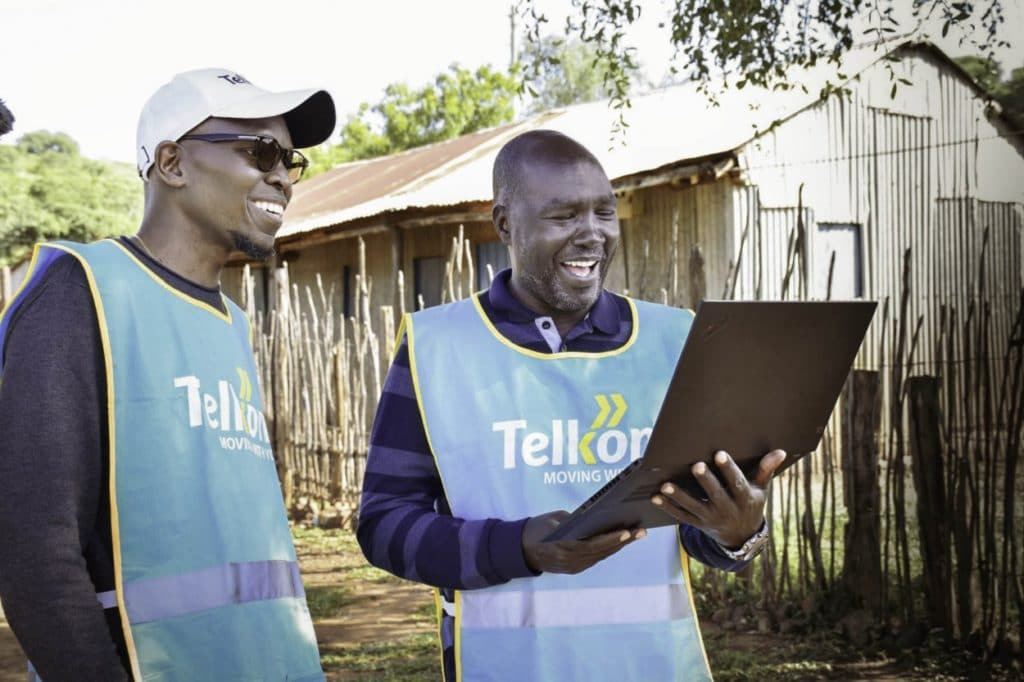 Telkom executives use the Loon service for the first time in Radad, Kenya.
