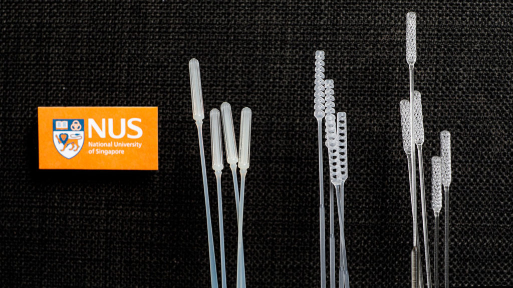 NUS researchers have designed three nasopharyngeal swabs for COVID-19 testing: (from left) IM2, IM3 and Python. Credit: National University of Singapore